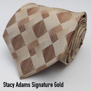Stacy Adams Signature Gold Geometric Necktie